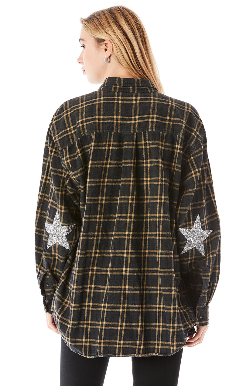 VINTAGE RHINESTONE STAR PATCH FLANNEL