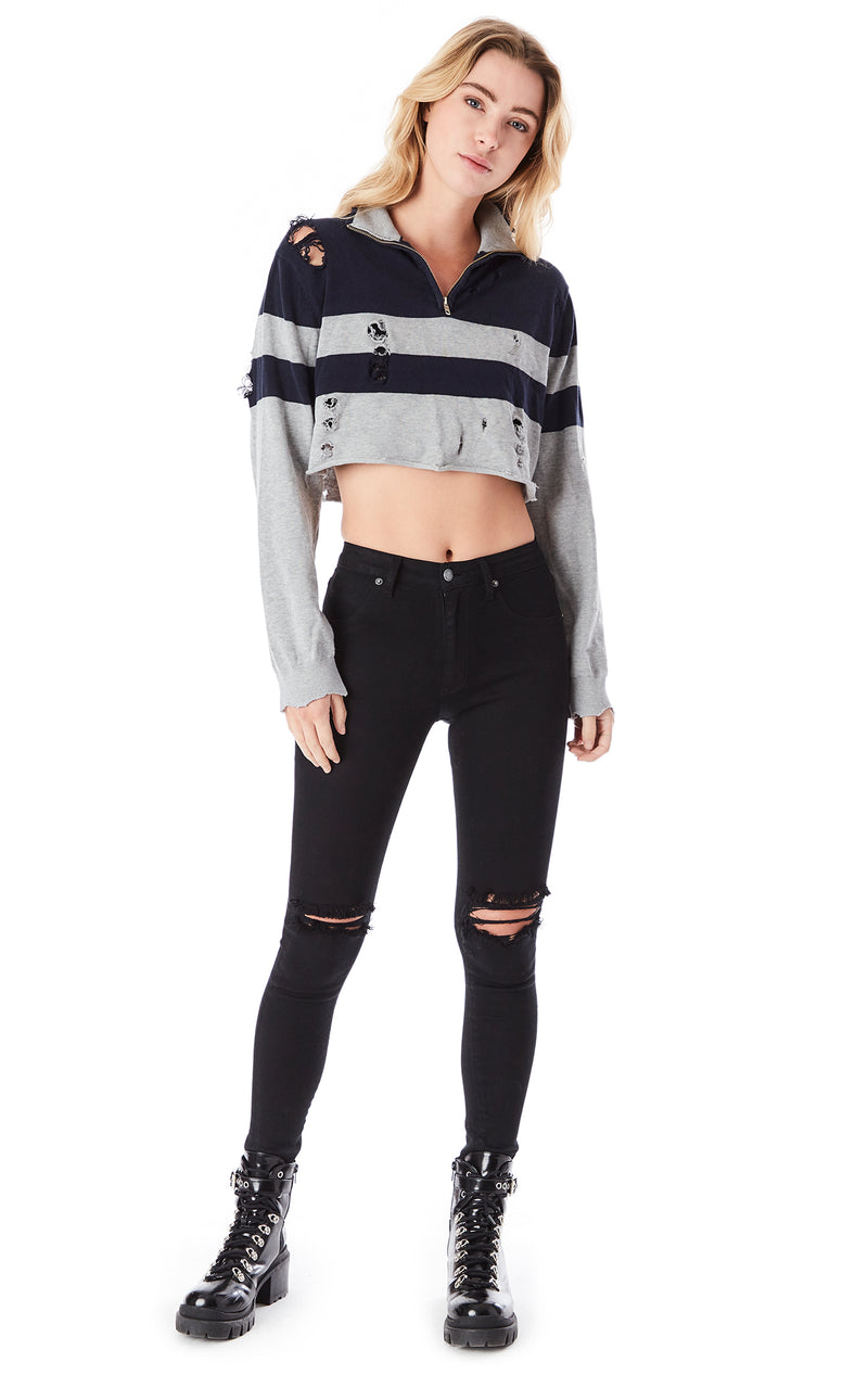 VINTAGE 3/4 ZIP DISTRESSED CROP SWEATER