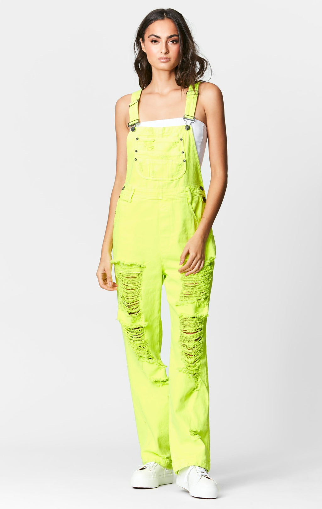 CARMAR DENIM NEON LIME OVERDYE DENIM OVERALL