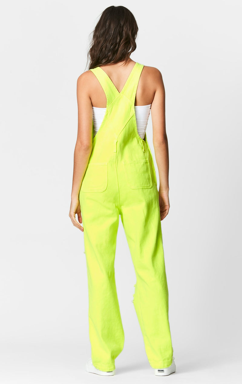 CARMAR DENIM NEON LIME OVERDYE DENIM OVERALL BACK
