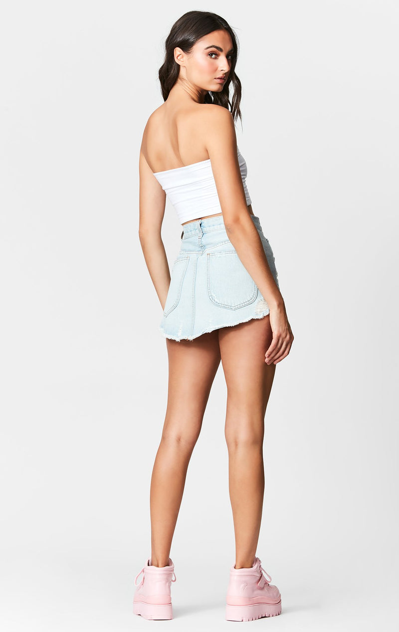 Carmar Denim: CELESTE BEATRICE ZIP FRONT SKIRT WITH METALLIC TRIM - SKIRTS
