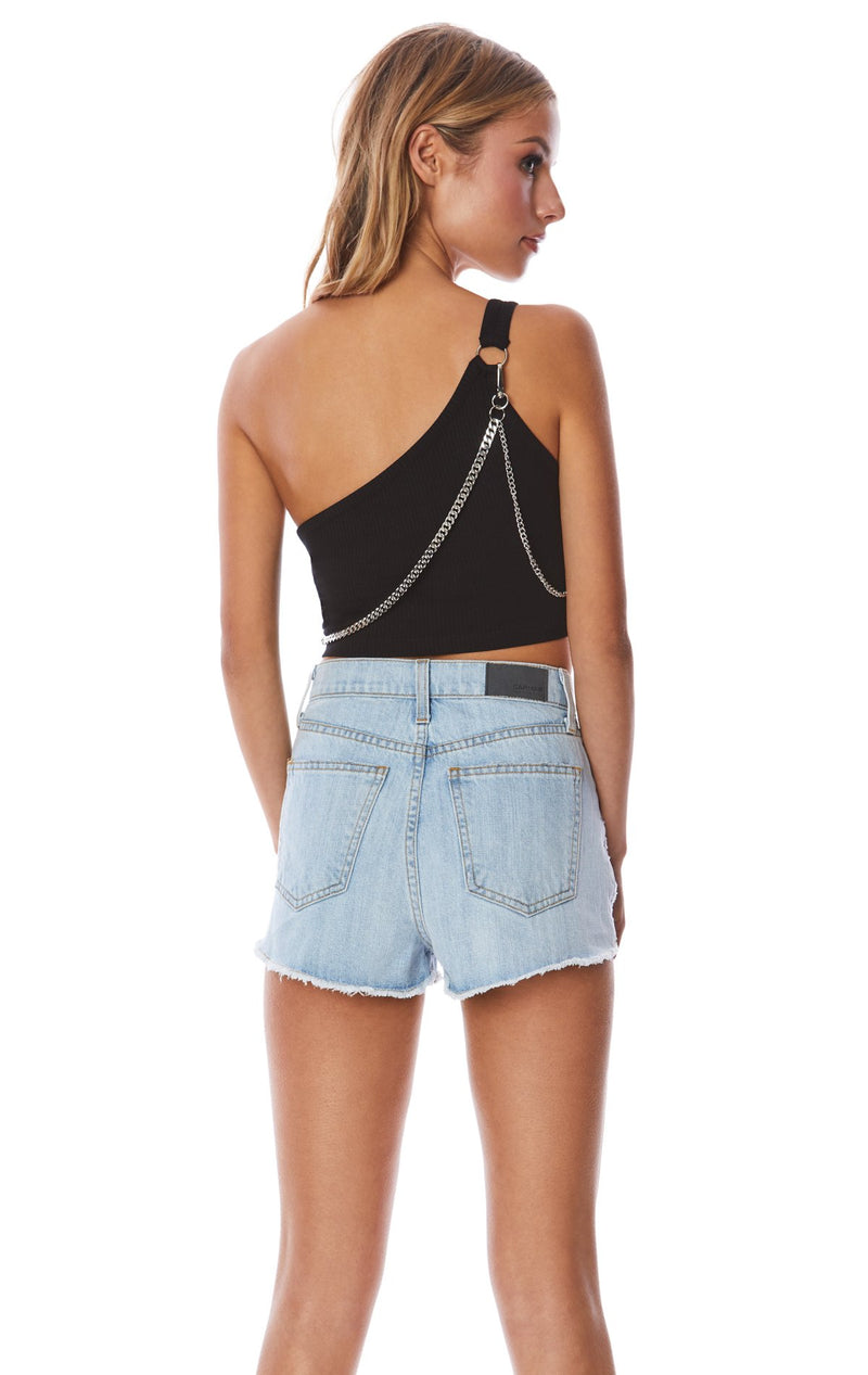 Emma & Sam: ONE SHOULDER TANK WITH CROSSBODY CHAIN - NOVELTY TANK