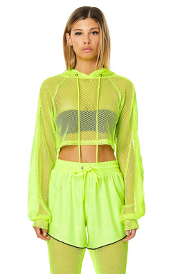 LF THE BRAND CROP NET HOODED PULLOVER CROP FRONT