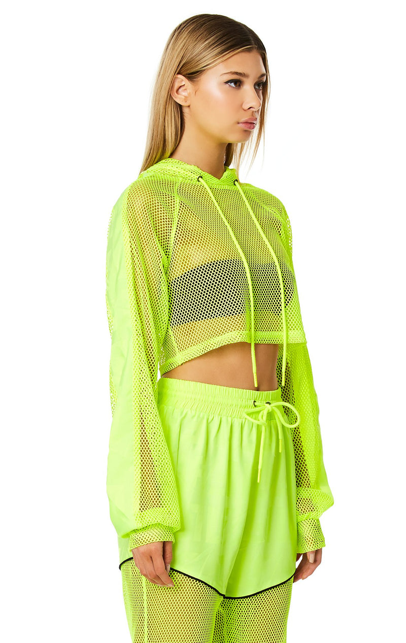LF THE BRAND CROP NET HOODED PULLOVER CROP ANGLE