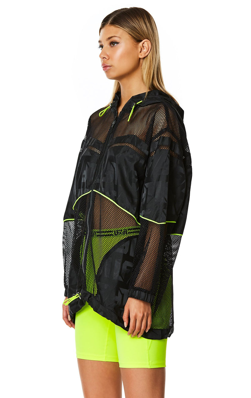 OVERSIZED NET WINDBREAKER JACKET