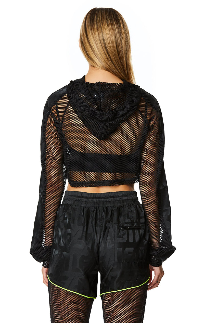 LF THE BRAND CROP NET HOODED PULLOVER CROP BACK