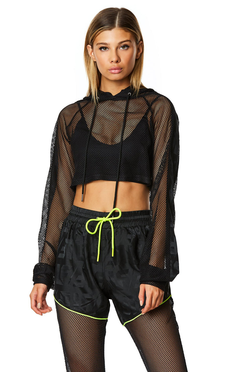 LF THE BRAND CROP NET HOODED PULLOVER ATTITUDE FRONT