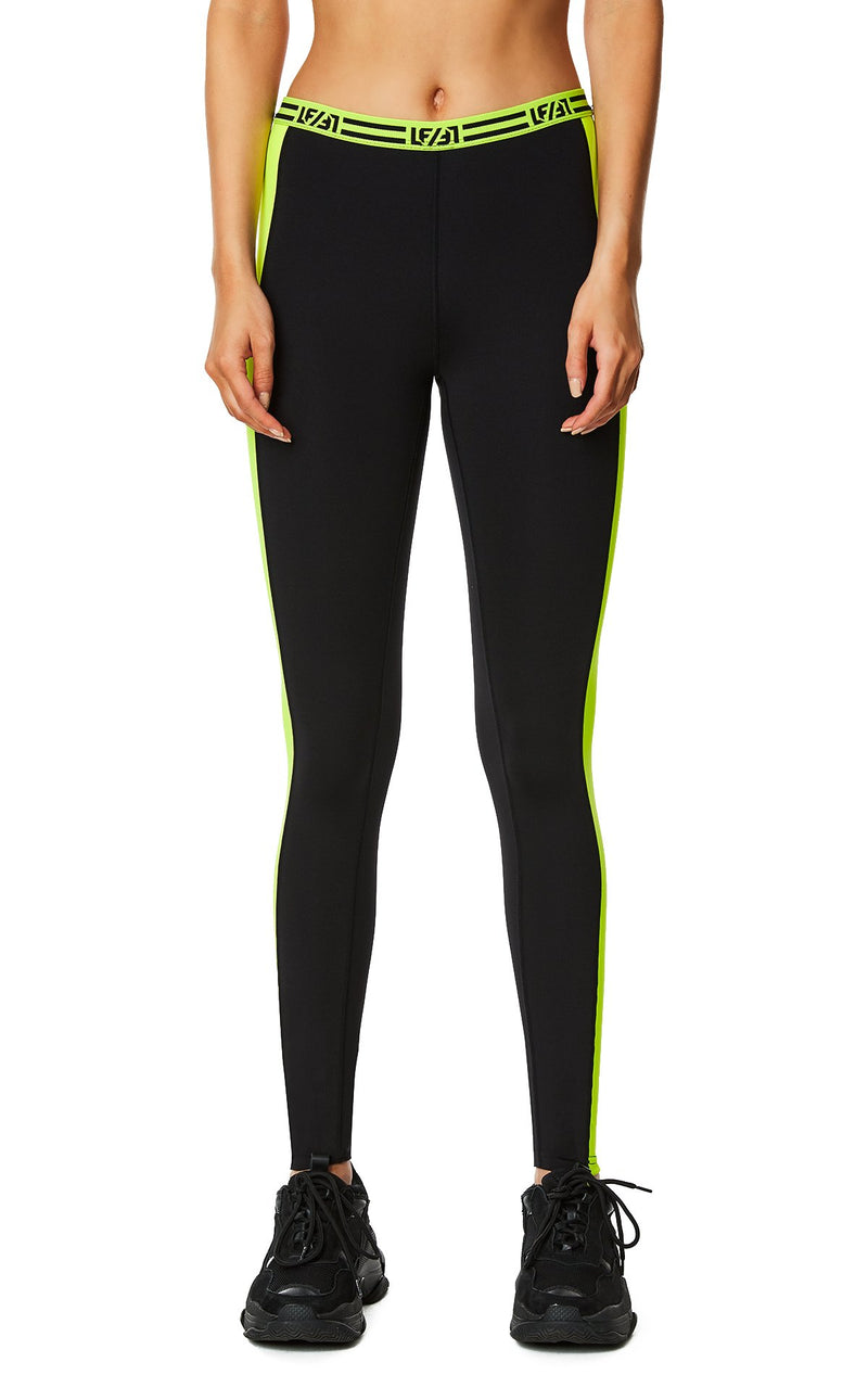 CONTRAST NEON SIDE LEGGING CLOSE FRONT