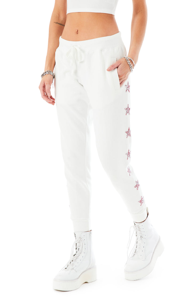 PINK STAR PATCH SWEATPANTS