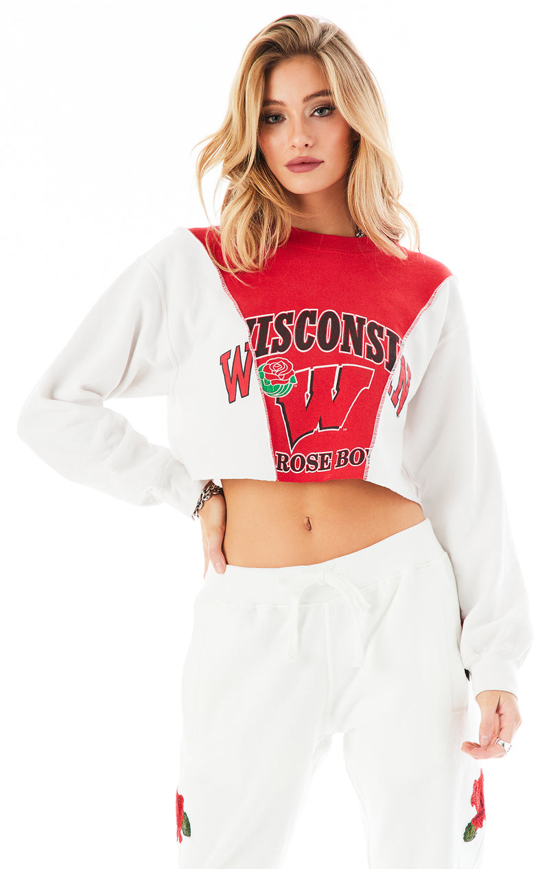 VINTAGE SPLICED CROPPED SWEATSHIRT