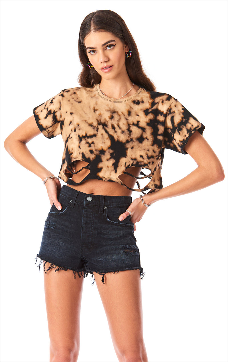 RIPPED BLEACH CROP TEE
