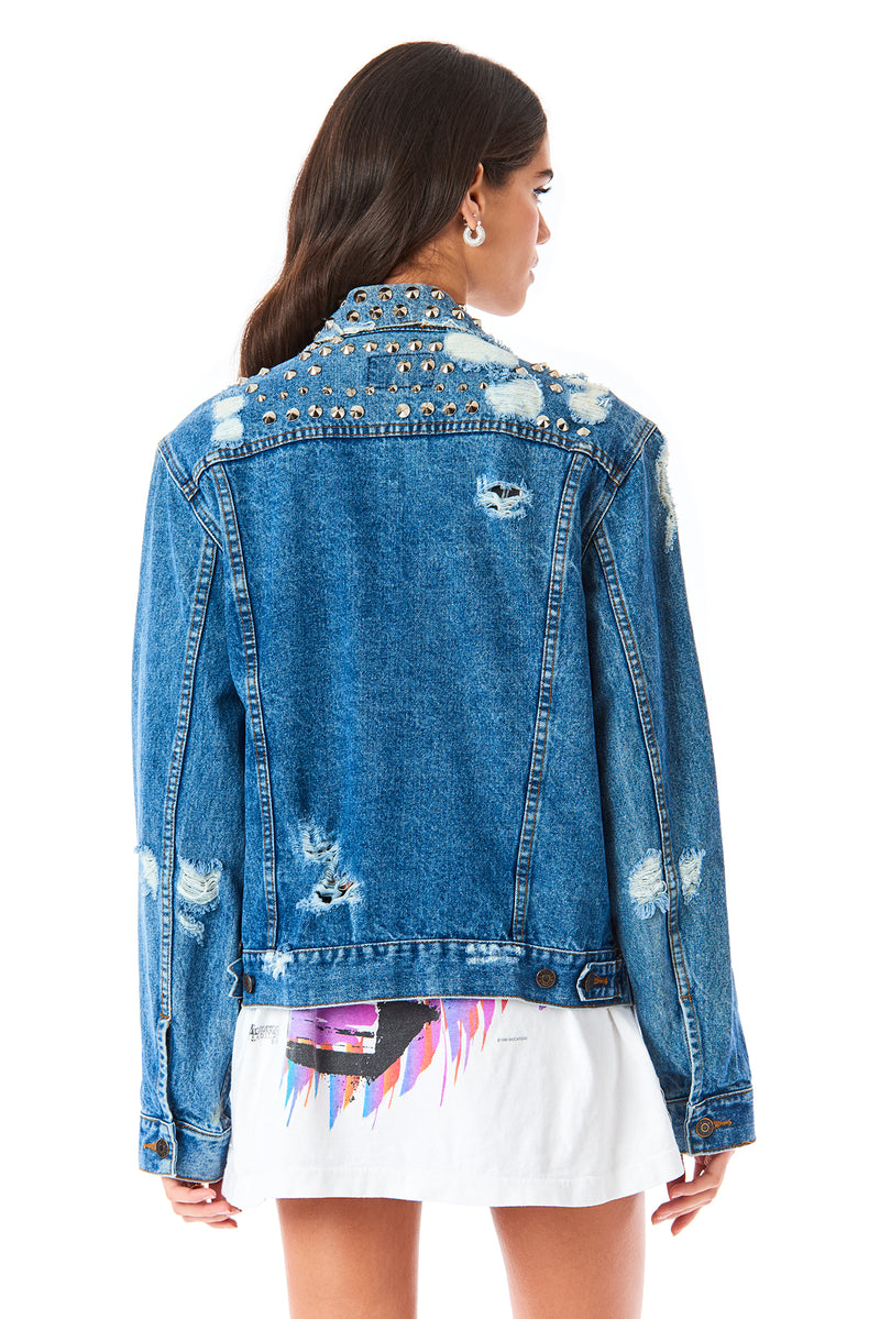 ALLOVER SPIKE STUD VINTAGE DENIM JACKET