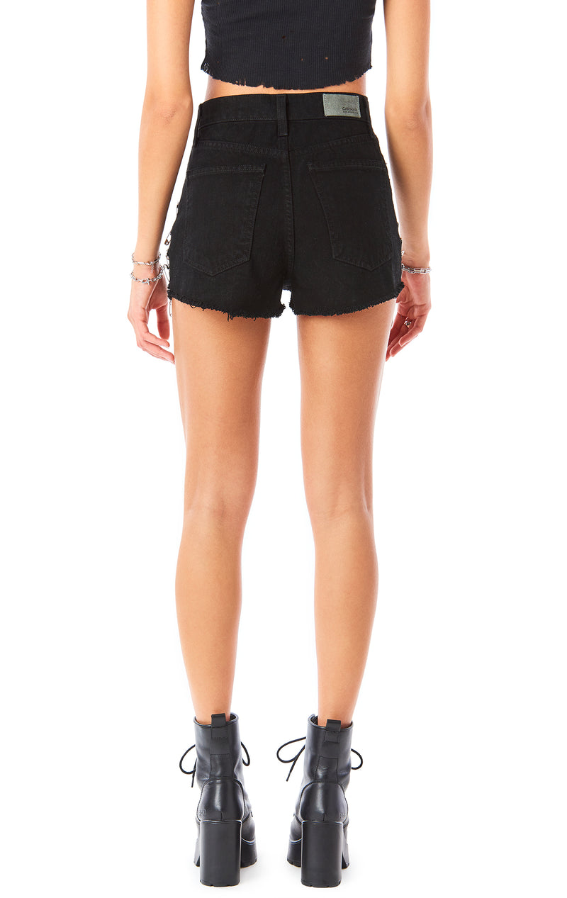 TITANIA SAFETY PIN BLACK DENIM SHORT