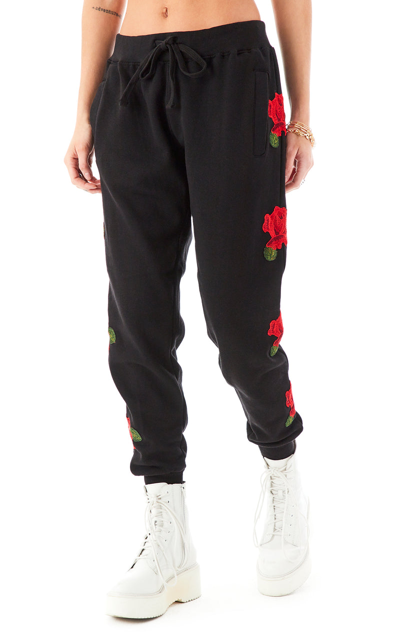 ROSE EMBROIDERED SWEATPANTS BLACK 2