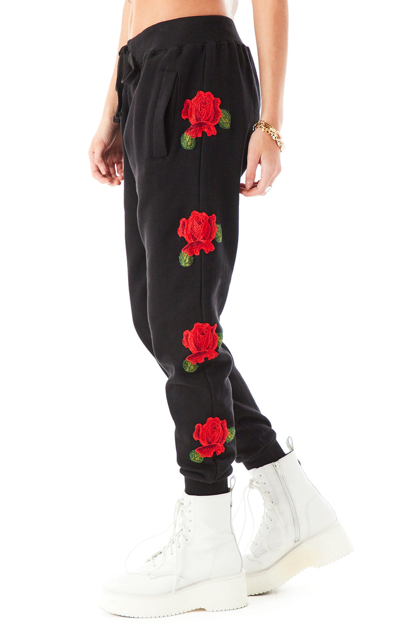 ROSE EMBROIDERED SWEATPANTS BLACK 1
