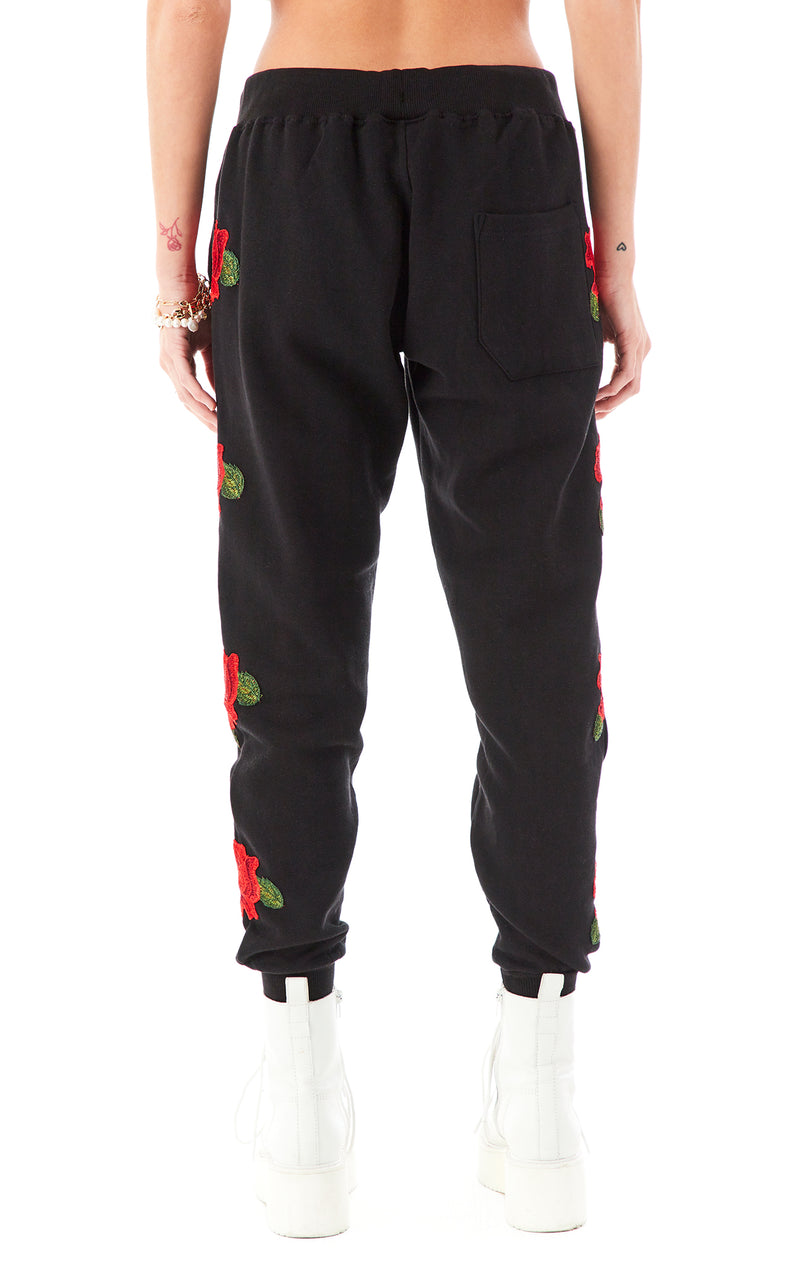 ROSE EMBROIDERED SWEATPANTS BLACK 3