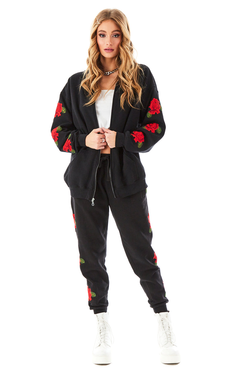 ROSE EMBROIDERED SWEATPANTS BLACK 5