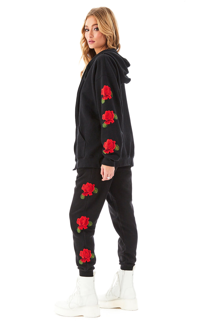 ROSE EMBROIDERED SWEATPANTS BLACK 4