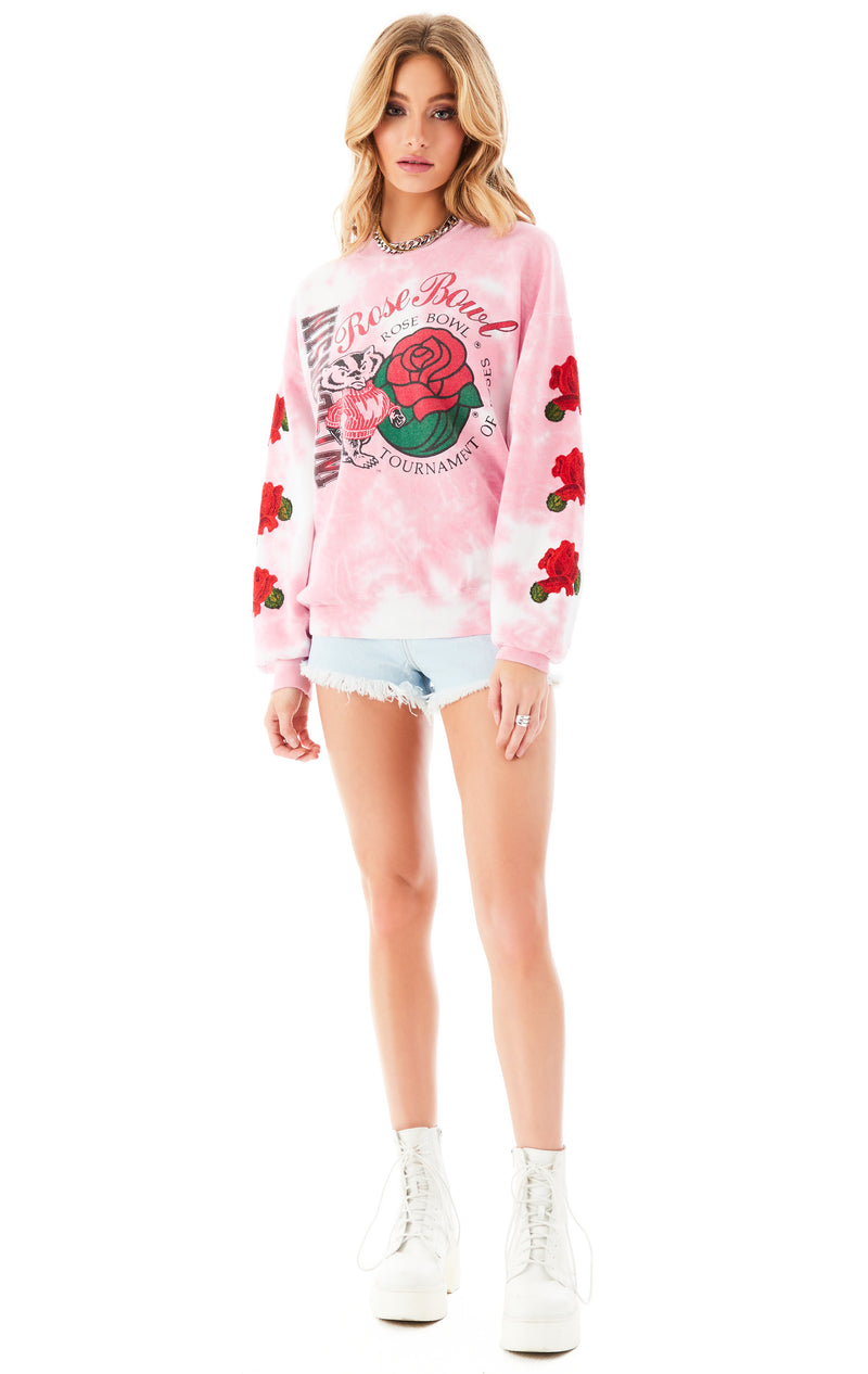 VINTAGE CLOUD TIE DYE ROSE EMBROIDERED SWEATSHIRT