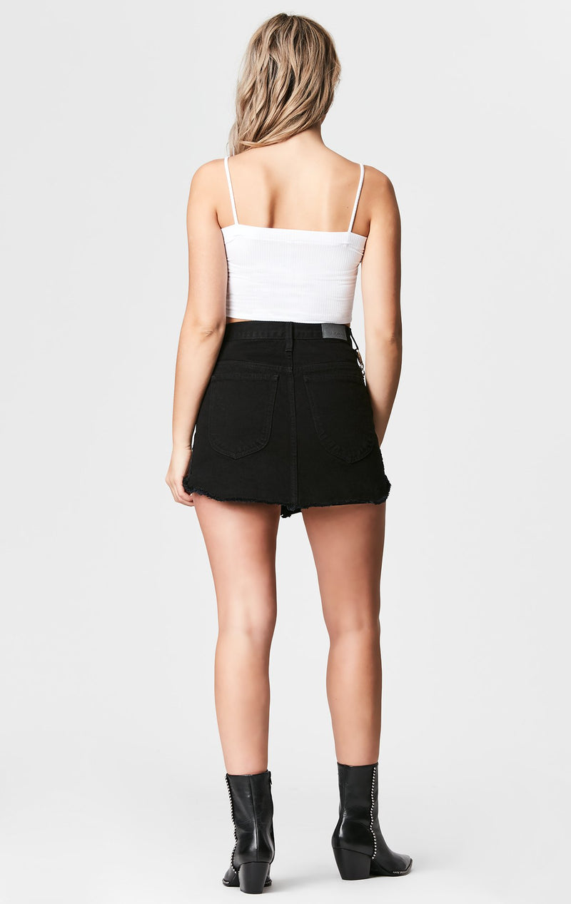 Carmar Denim: BLACK BEATRICE ZIP FRONT CHAIN SKIRT - SKIRTS