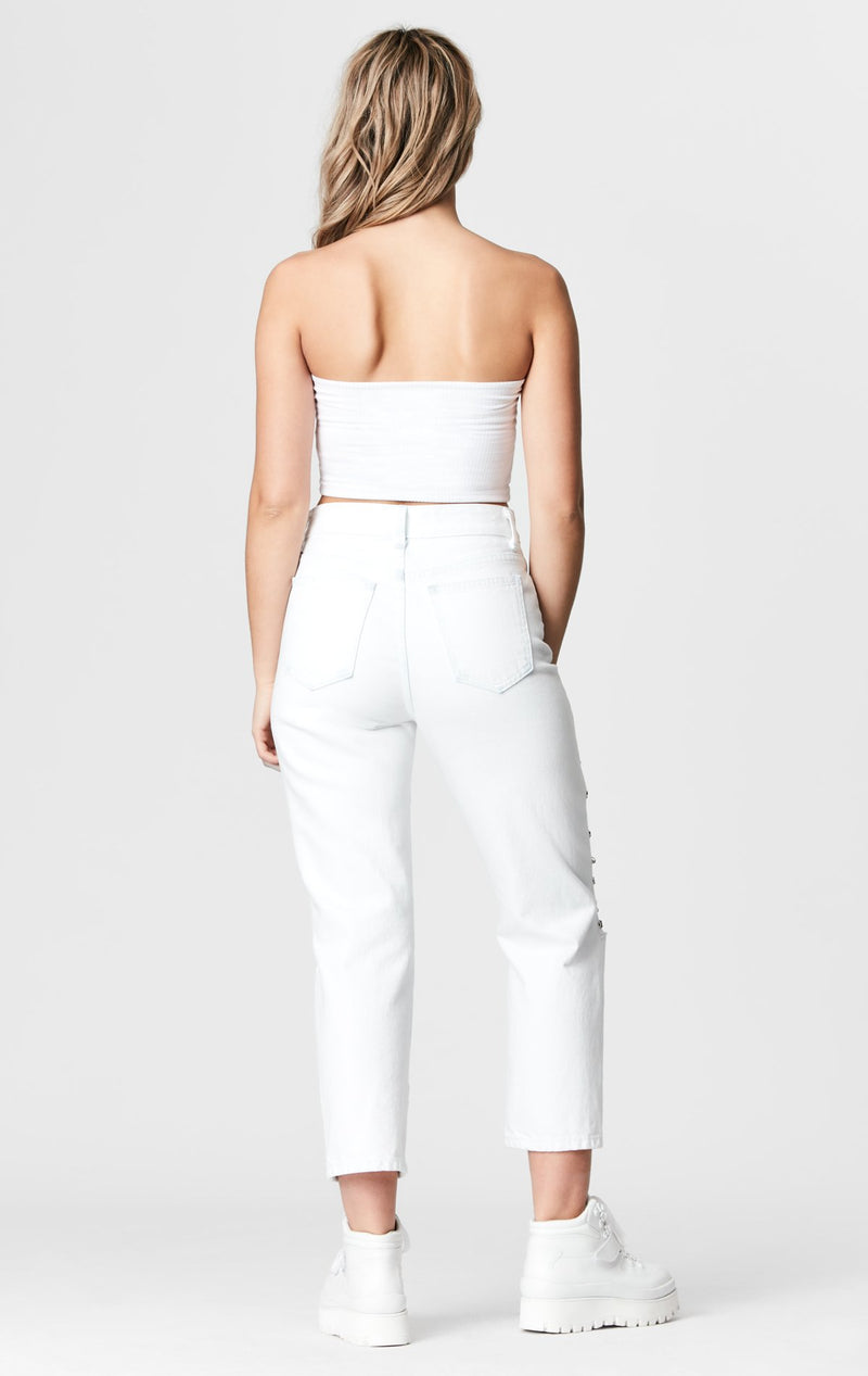 CARMAR DENIM WHITE HERMIA KNEE CHAIN JEAN BACK