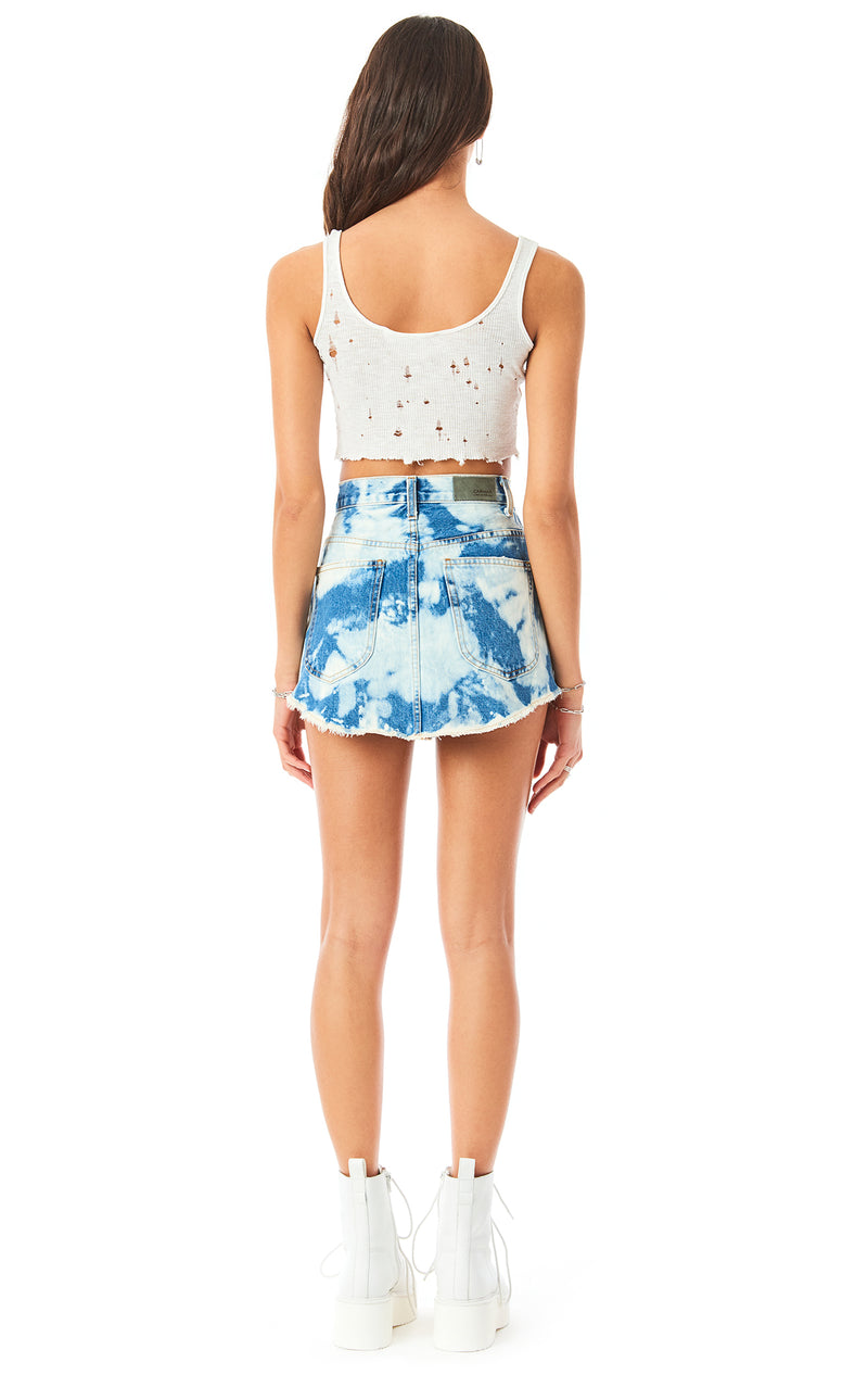BEATRICE KAINITE BLEACH SPLOTCH DENIM SKIRT