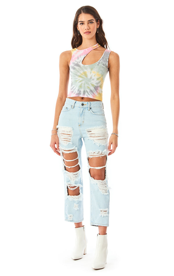 SPIRAL TIE DYE CUT OUT TANK TOP