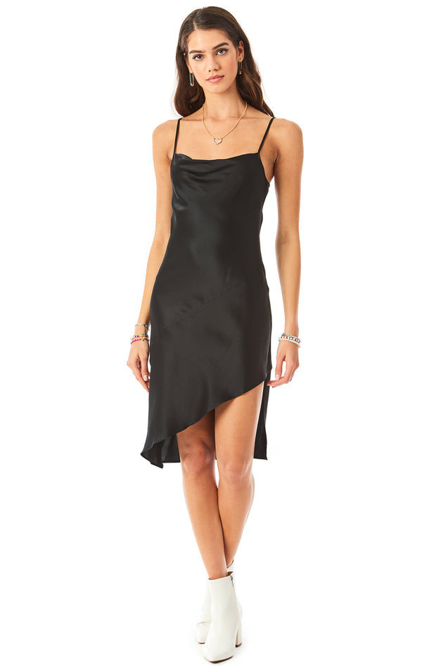 ASYMMETRICAL COWL NECK SILK SLIP DRESS