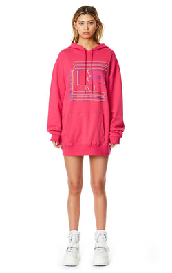 LF THE BRAND HOODED SWEATSHIRT DRESS FRONT