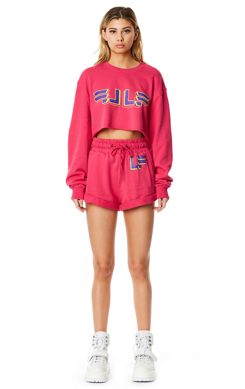 LF THE BRAND CROPPED PULLOVER SWEATSHIRT FULL BODY FRONT