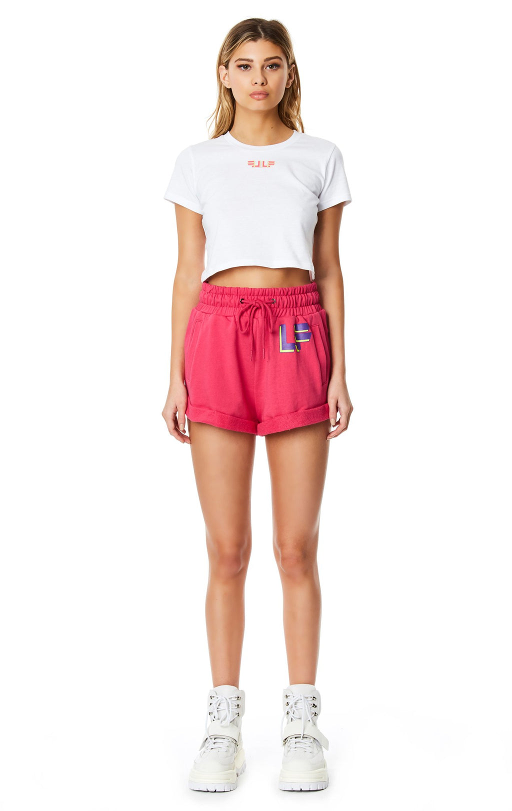 LF THE BRAND HIGH-RISE SWEAT SHORT FULL BODY FRONT