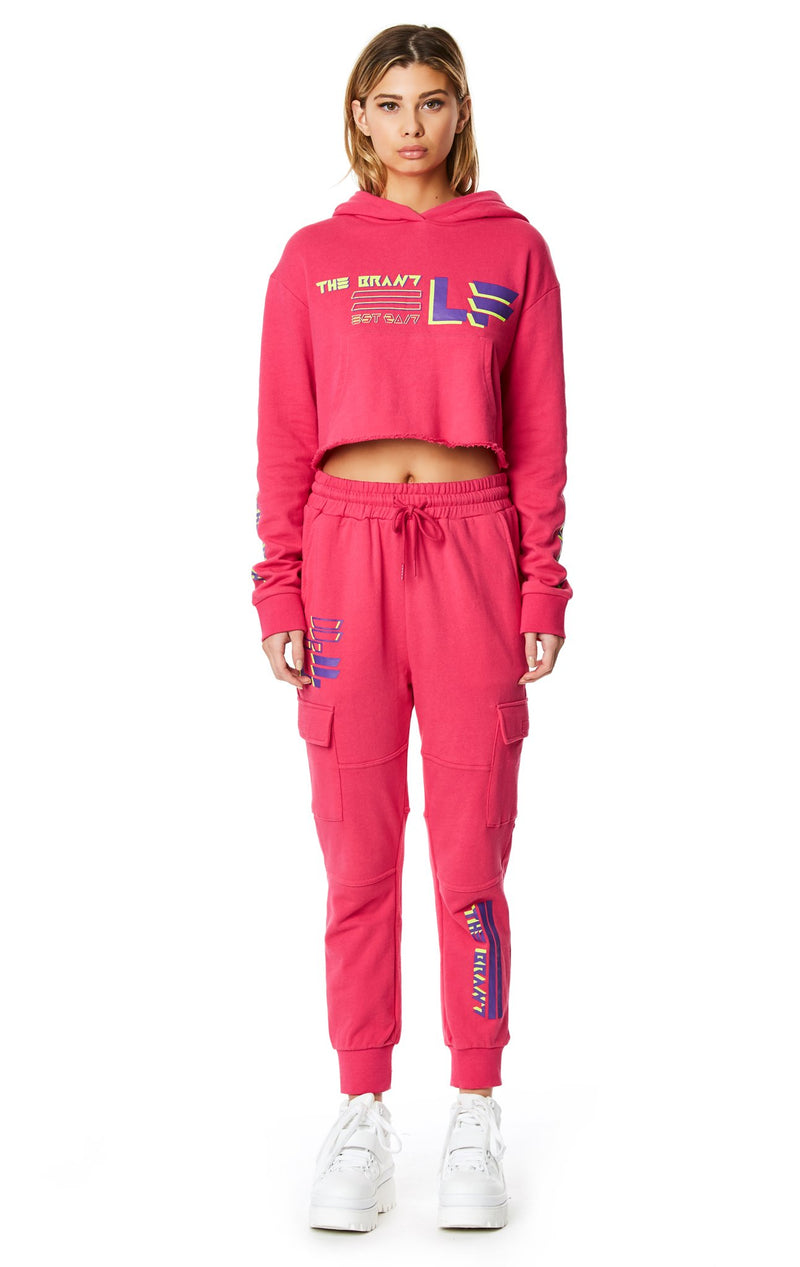 LF THE BRAND CROPPED PULLOVER HOODIE FULL BODY FRONT
