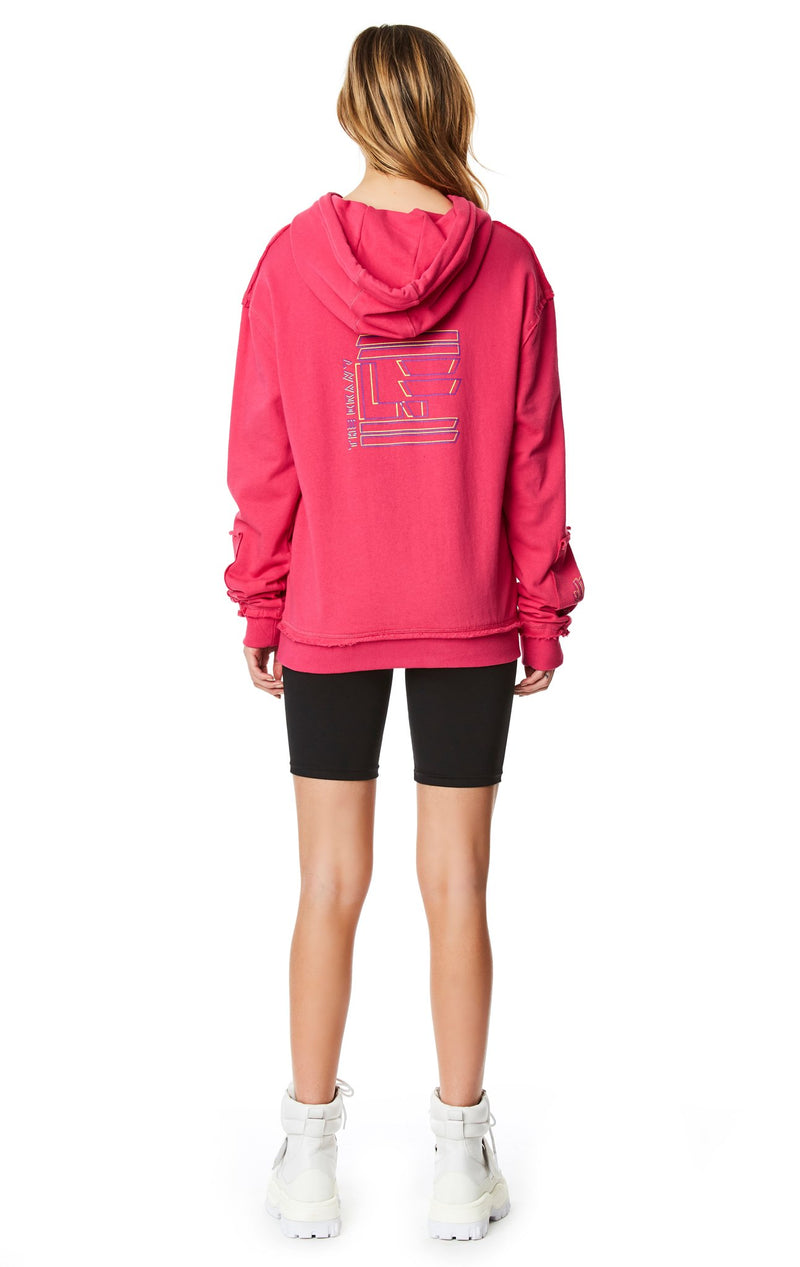 PULLOVER SWEATSHIRT WITH SLEEVE INSERT FULL BACK