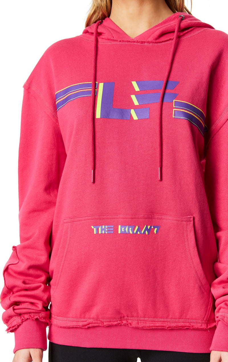 PULLOVER SWEATSHIRT WITH SLEEVE INSERT CLOSE UP