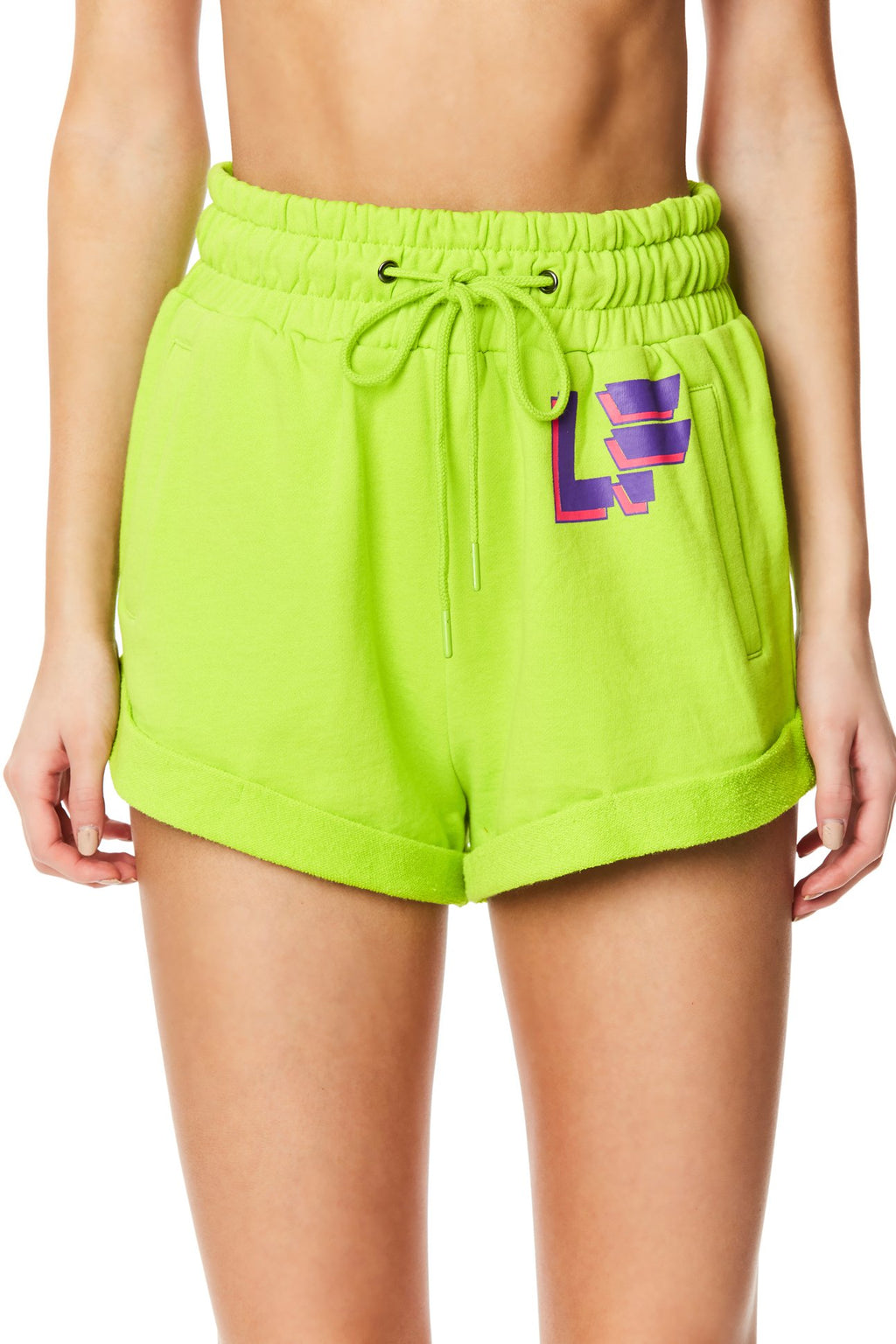 LF THE BRAND HIGH-RISE SWEAT SHORT CROP FRONT