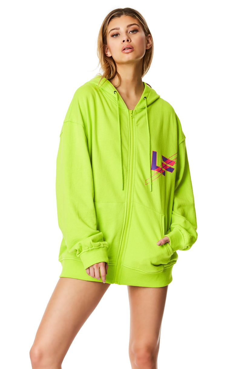OVERSIZED ZIP FRONT SWEATSHIRT
