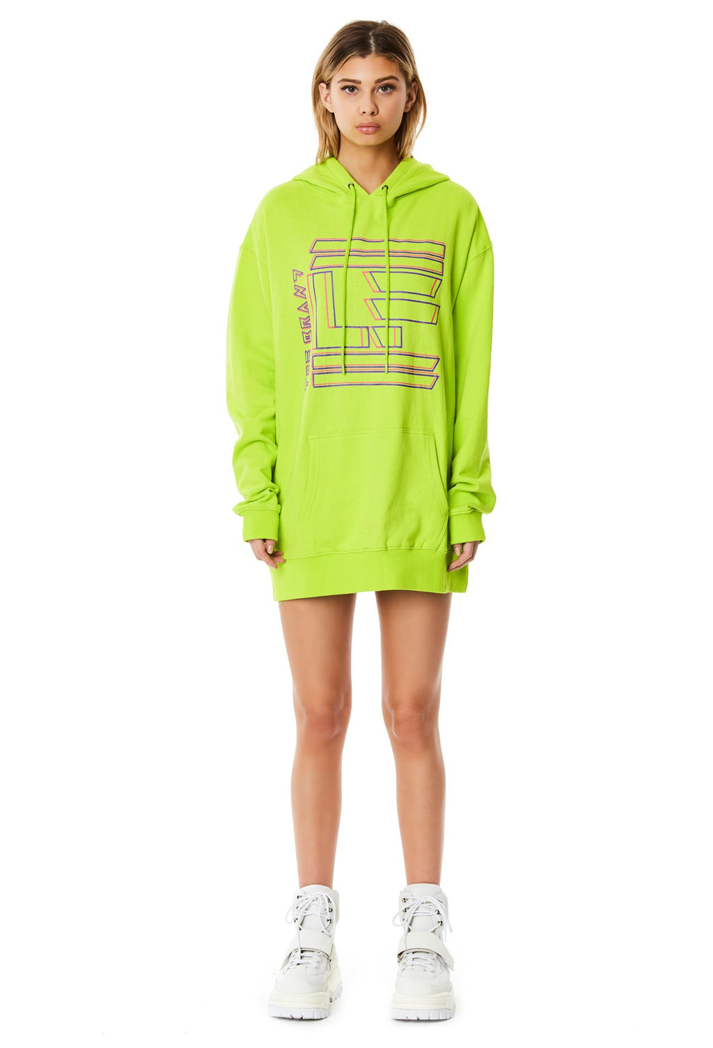 LF THE BRAND HOODED SWEATSHIRT DRESS FULL FRONT