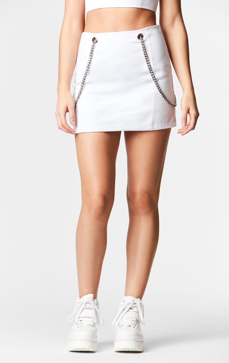Carmar Denim: GROMMET SIDE CHAIN SKIRT - IMPORT SKIRTS
