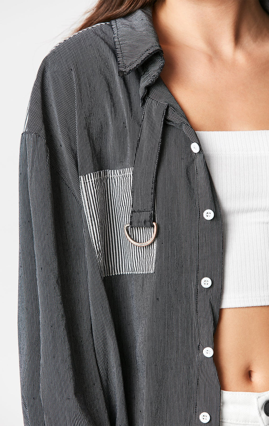 Carmar Denim: CONTRAST STRIPE D-RING SHIRT - WOVEN TOP