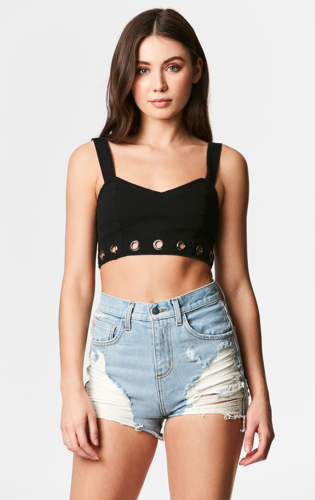 CARMAR DENIM GROMMET TRIM BRA TOP