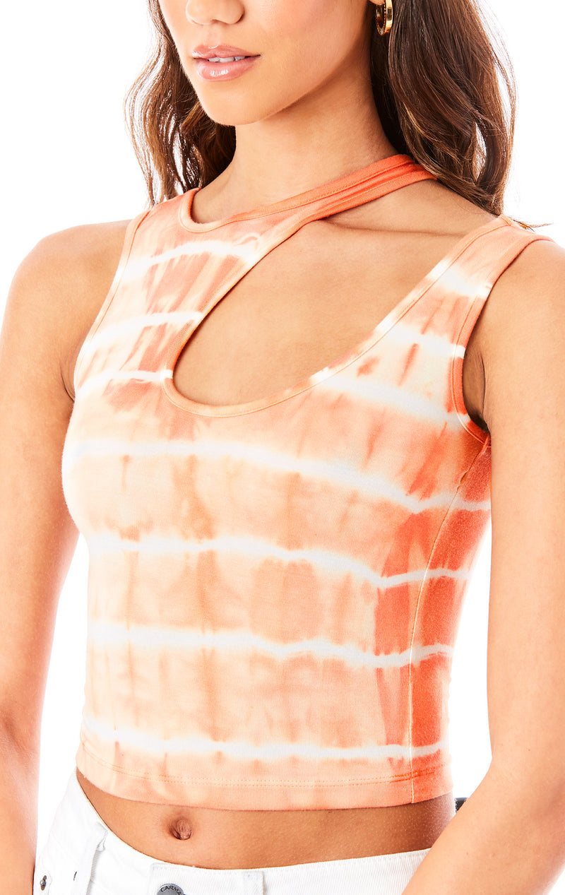 HORIZONTAL TIE DYE CUT OUT TANK TOP