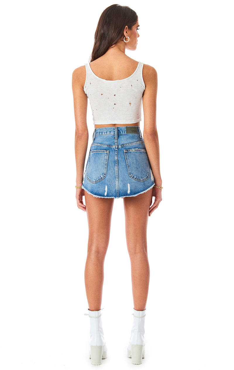 BEATRICE DEMI RHINESTONE STAR PATCH DENIM SKIRT