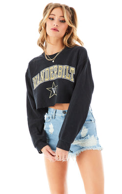 VINTAGE RHINESTONE CHAIN OPEN BACK SWEATSHIRT