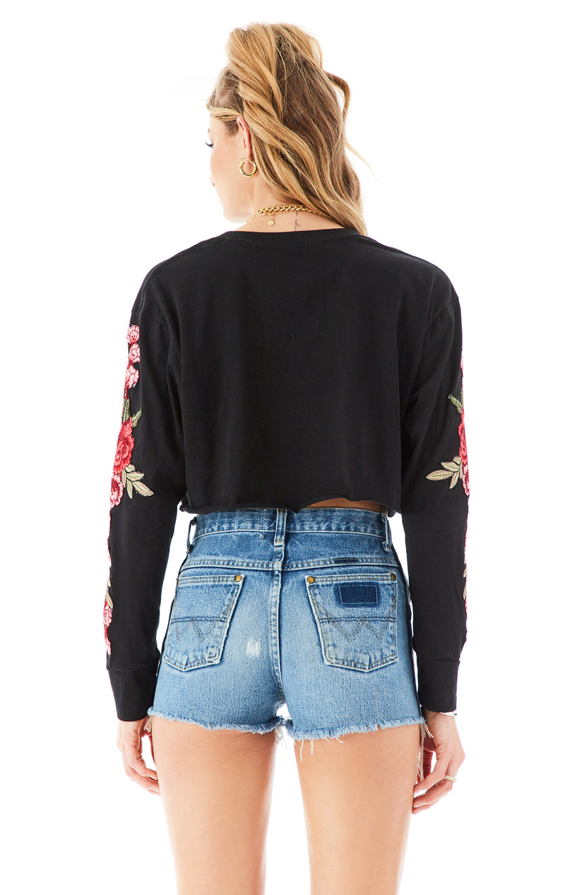 ROSE EMBROIDERED LONG SLEEVE TEE BLACK 5