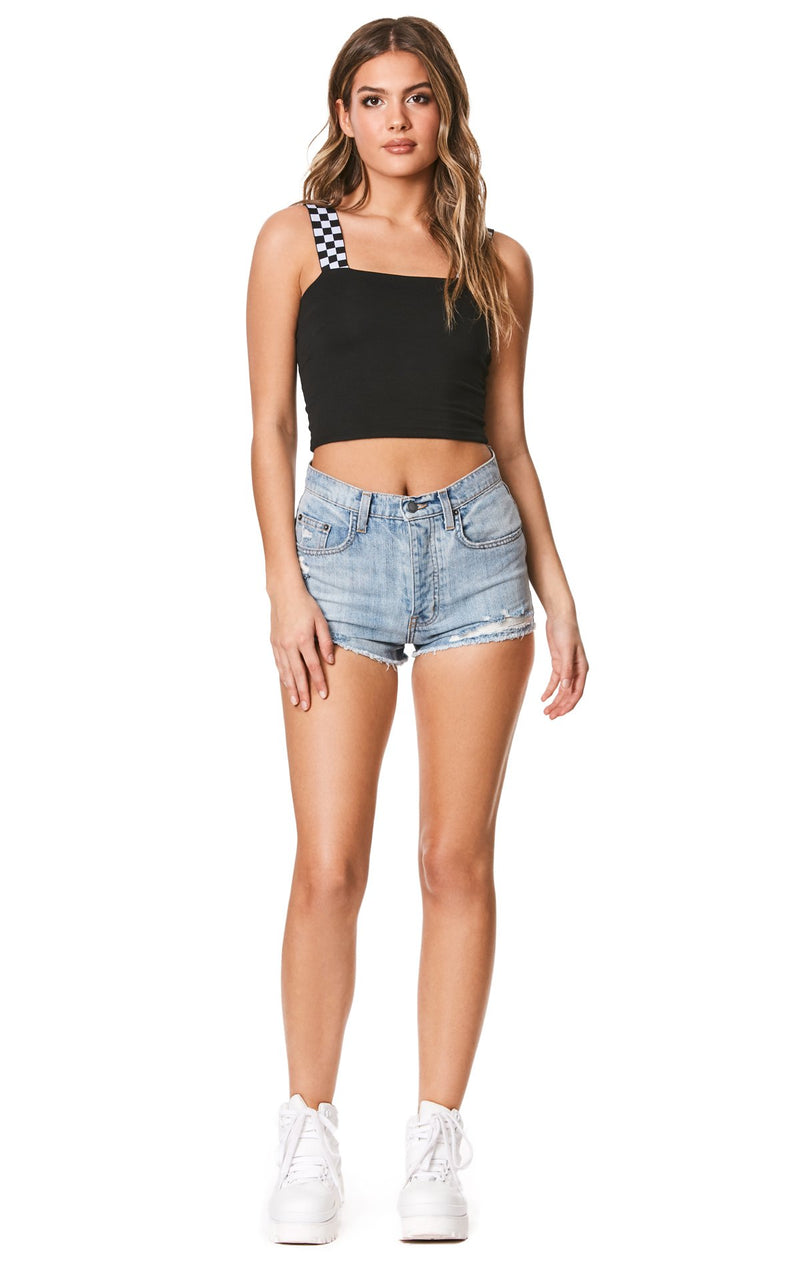 Emma & Sam: CHECKERED STRAP CROP TANK - NOVELTY TANK