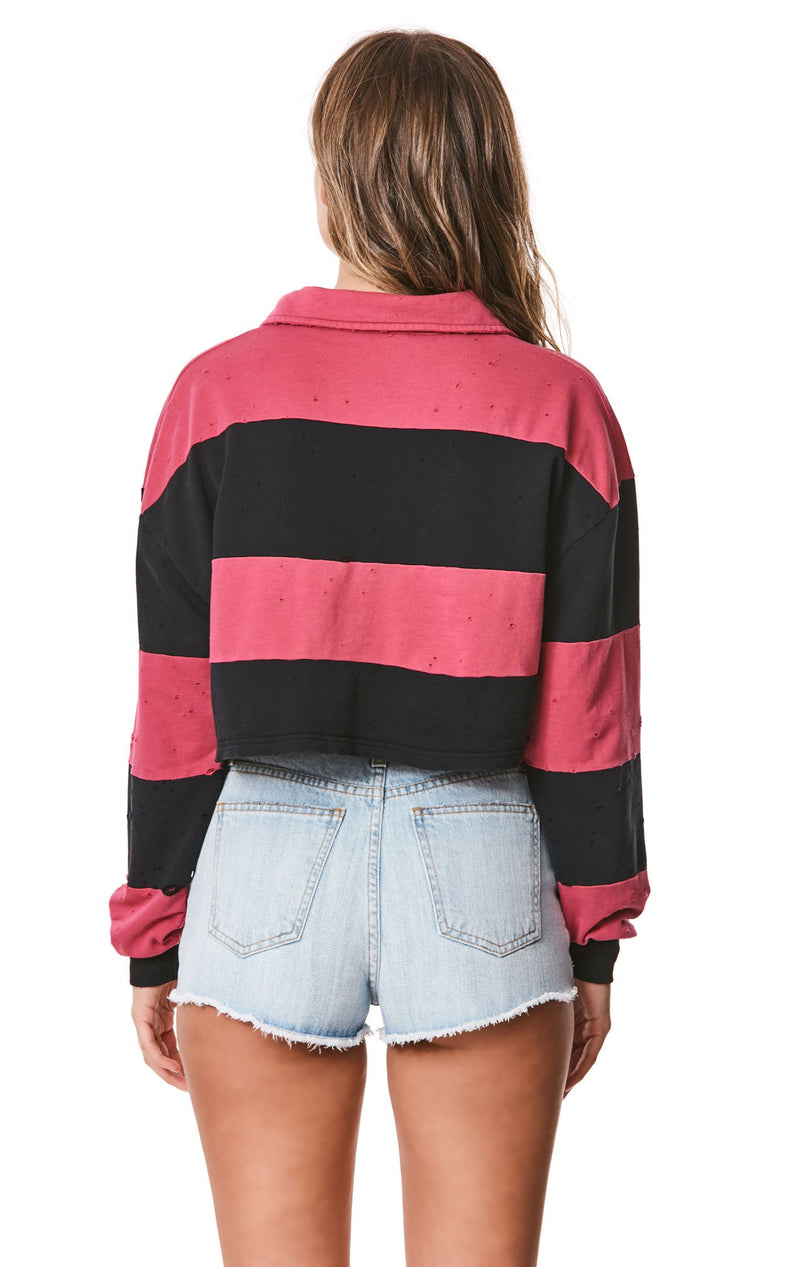 Emma & Sam: CROP STRIPE RUGBY SHIRT - NOVELTY TEE