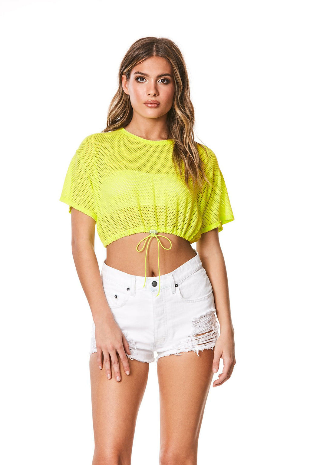 Emma & Sam: CINCHED MESH CROP TEE - NOVELTY TEE