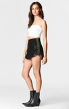 Carmar Denim: BLACK BEATRICE ZIP FRONT SKIRT WITH NEON SIDE ZIPPER - SKIRTS