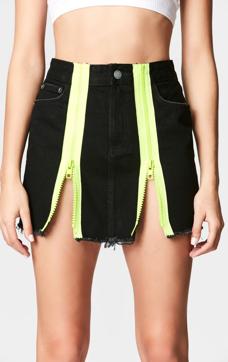 Carmar Denim: BLACK COLIN SKIRT WITH NEON DOUBLE ZIPPERS - SKIRTS