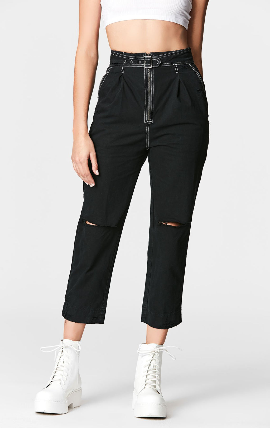 Carmar Denim: BELTED CROP CARGO PANT - PANT